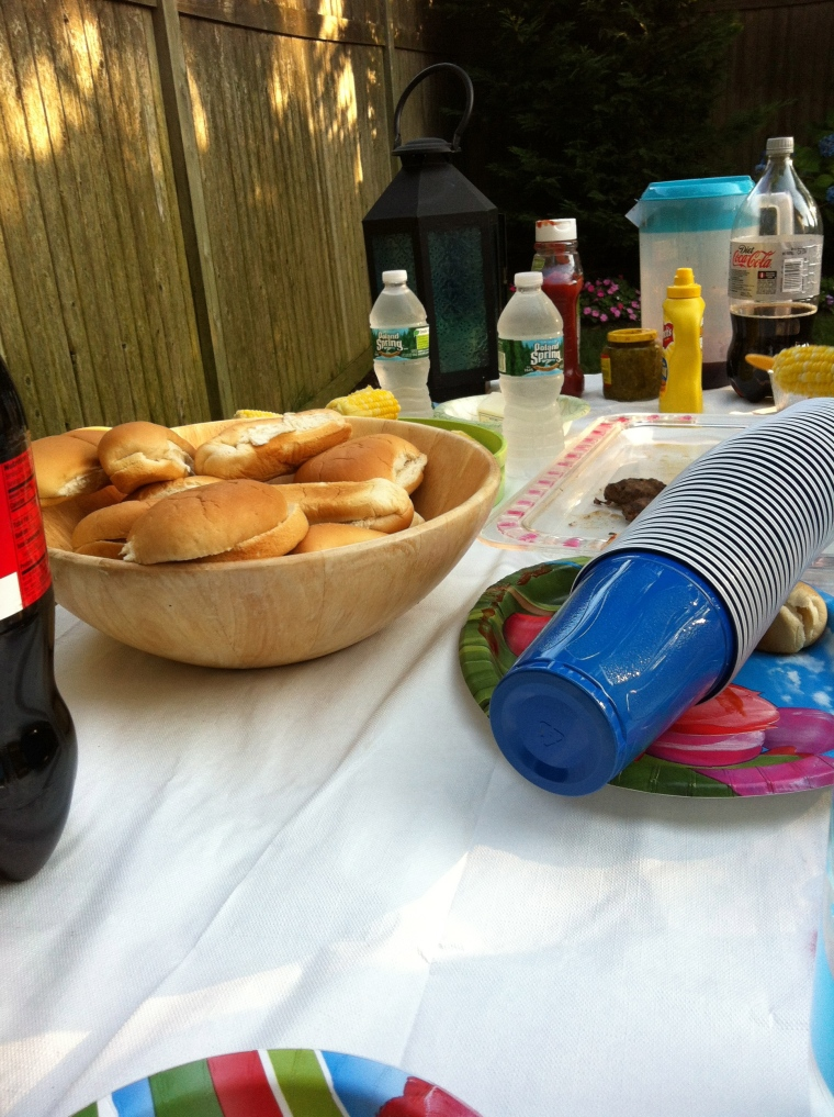 Typically American: Coke, party cups, hot dogs, corn and Heinz ketchup