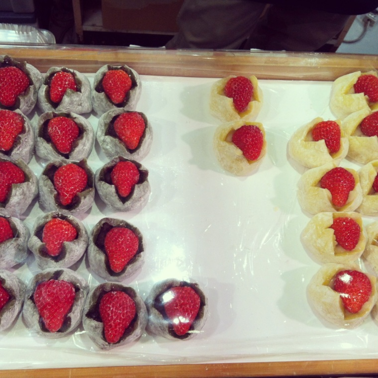 Ichigo dango (strawberry mochi) in Tokiwa